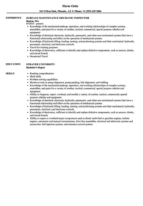 Maintenance Mechanic Resume by Surface Maintenance Mechanic Resume Sles Velvet