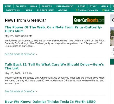huffington post sections now appearing on huffington post green car reports