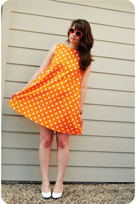 orange handmade dresses white shoes orange vintage