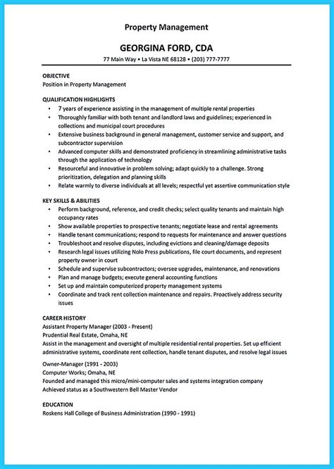 property manager resume description property manager resume exle sle template
