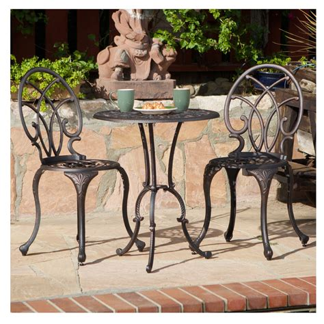 french ironwork cast aluminum outdoor patio  piece bistro