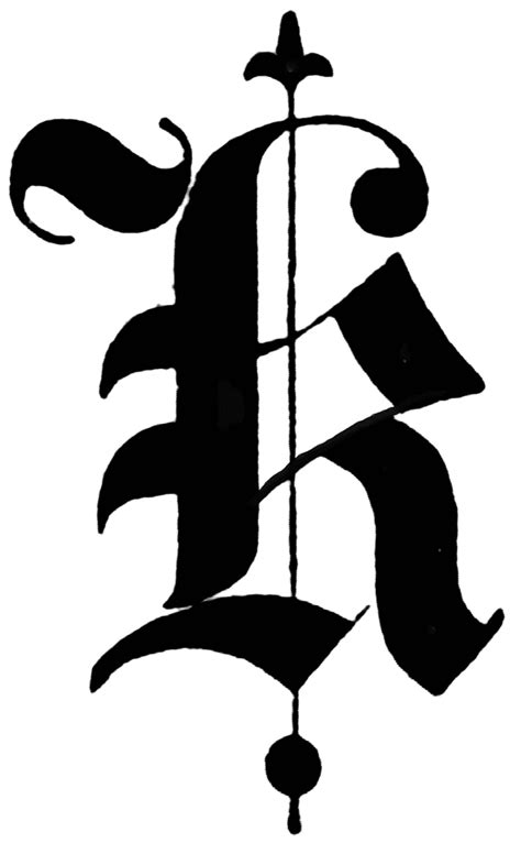 K, Old English title text | ClipArt ETC