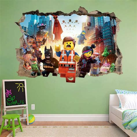 lego wall decals for rooms lego smashed wall sticker bedroom vinyl tv mural ebay