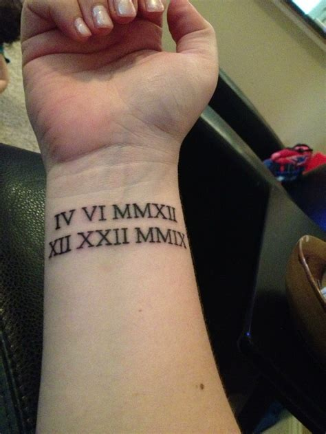 roman numeral date tattoo numeral wrist of birthdays ideas