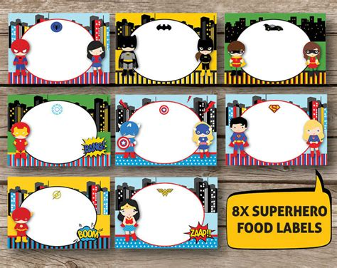 Label Book Avenger supergirl labels set of 8 instant by redapplestudio