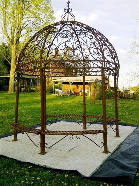Iron Gazebo Grand Wrought Iron Large Gazebo W Seating