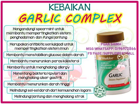 Suplemen Bawang Putih khasiat garlic complex shaklee supplement bawang putih