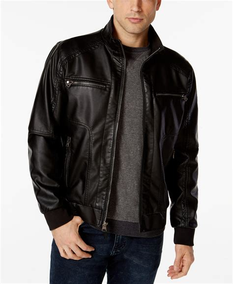 Jacket Calvin calvin klein mens faux leather bomber jacket in black for lyst