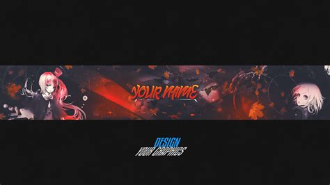 anime youtube banner speedart photoshop psd by
