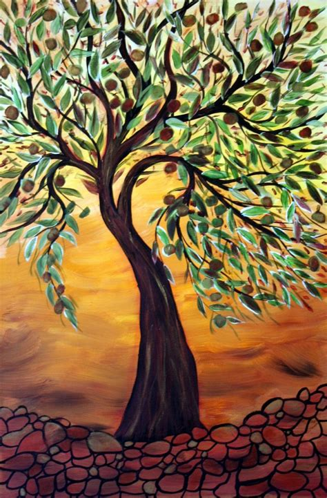 Olive Tree At Sunset 24x36 Original Oil Painting On