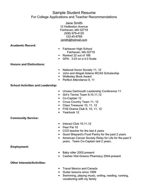 High School Student Resume For College Admission by Exle Resume For High School Students For College
