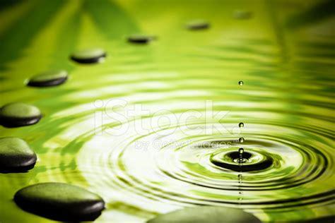 Floor Design by Zen Stones Water Ripple Green Zen Like Stock Photos