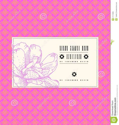 Pink By Z Shop vector vintage card with peony flower royalty free stock