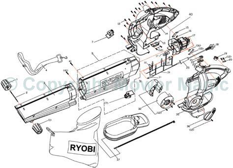 ryobi blower parts diagram ryobi rbv2200 blower spares