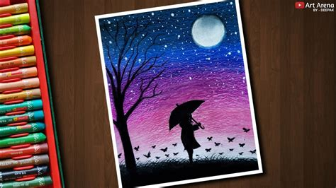 girl night scenery drawing  oil pastels step