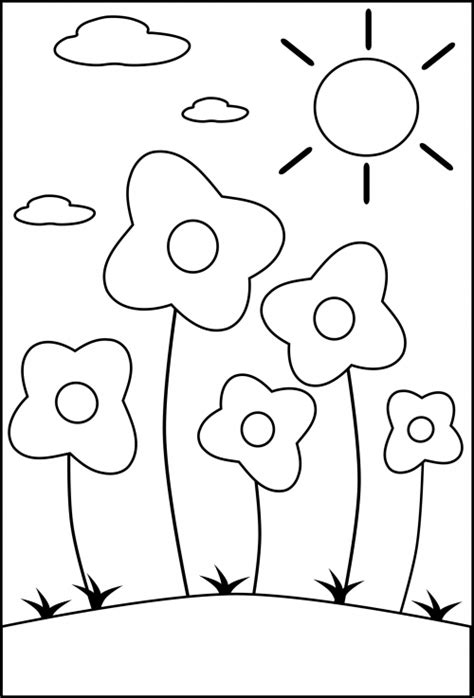 Plants Coloring Pages Preschool | preschool coloring page flowers kidspressmagazine com