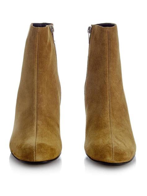 laurent babies 70 block heel suede ankle boots in