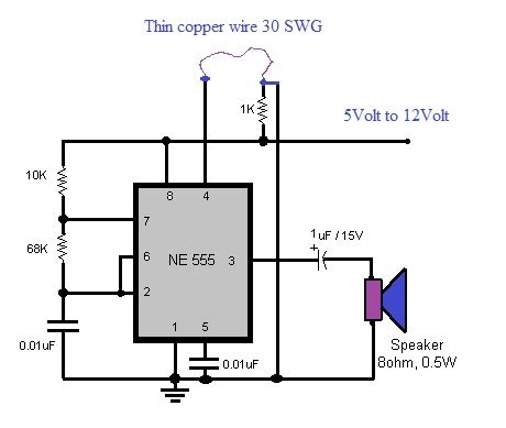 luggage protector circuit using 555 timer ic wiring diagram