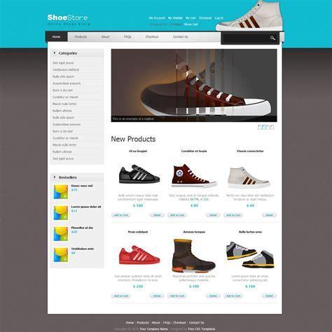 Shoes Template Is An Ecommerce Store Theme For Shopping Related Websites This Template Includes Html Css Shopping Cart Template