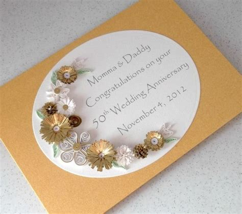 Handmade 50th Anniversary Cards - quilled 50th golden wedding anniversary card handmade