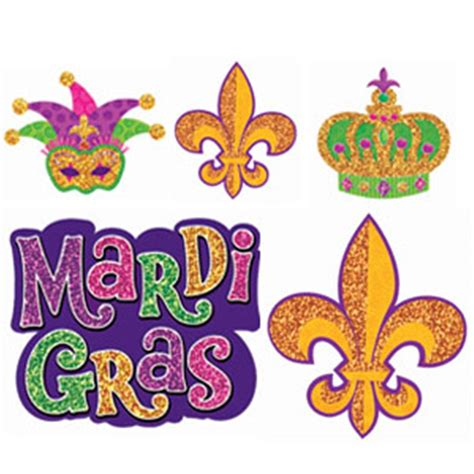 mardi gras mini glitter cutouts 10ct