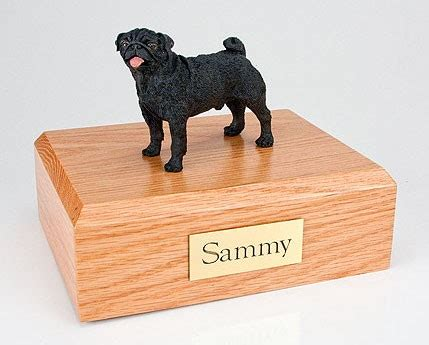 pug urns black pug cremation figurine urn w wooden storage box