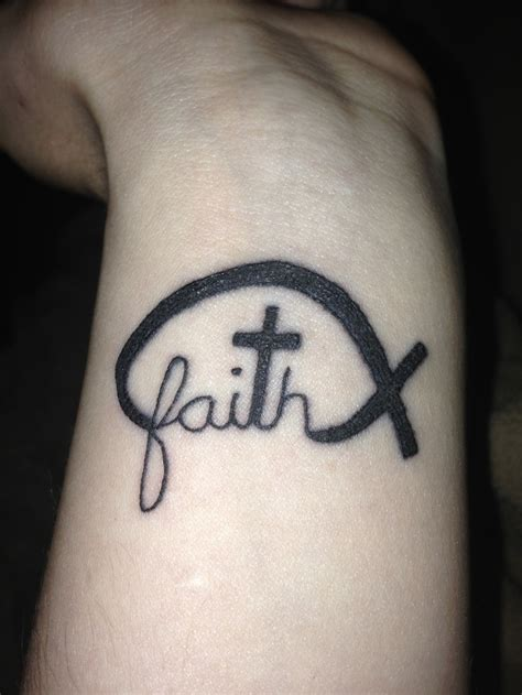 fifth and newest tattoo faith cross fish symbol on