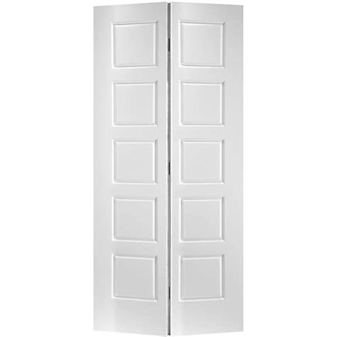 24 Bifold Closet Doors Primed 5 Panel Equal Smooth Interior Closet Bifold Door 24