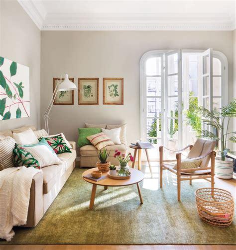 salon de  piso pequeno  decoracion primaveral en