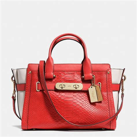 Coach Emboss coach swagger in colorblock python embossed leather