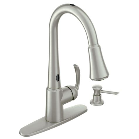 kitchen faucets lowes shop moen delaney with motionsense spot resist stainless 1