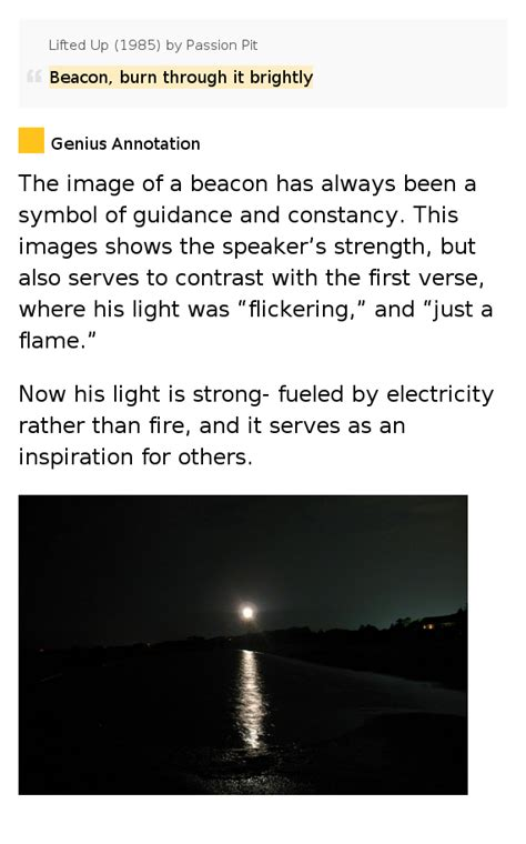 beacon burn through it brightly lifted up 1985 by