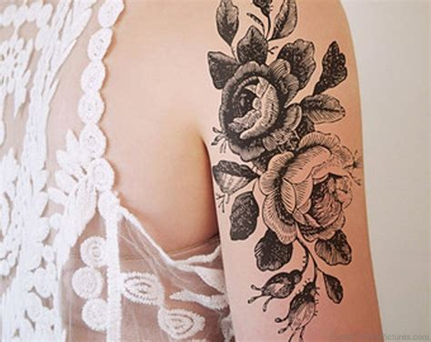 black and grey flower tattoo designs 73 great vintage flower tattoos on shoulder