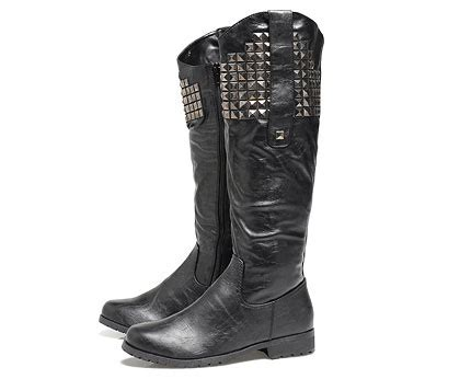 knee length flat leather studded boots black lookcubes