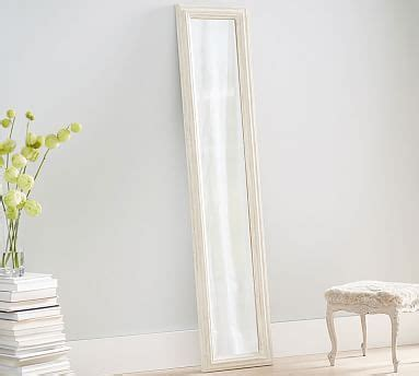 white washed floor mirror pottery barn