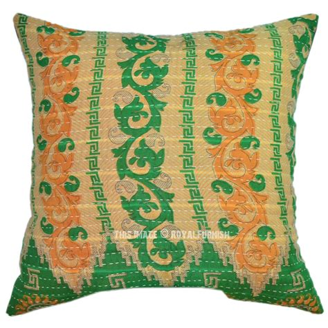 Quilted Pillow Cases by 40x40 Multicolor Traditional Vintage Kantha Quilted Pillow