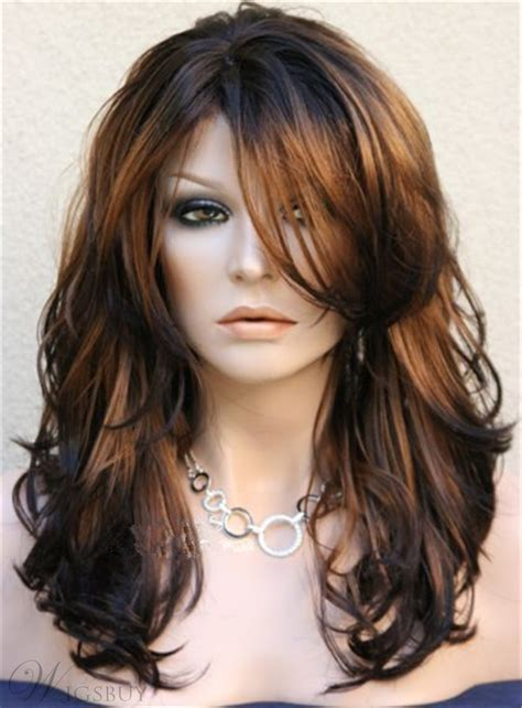 longer a frame hair cuts long layered wavy side swept fringes hairstyle synthetic