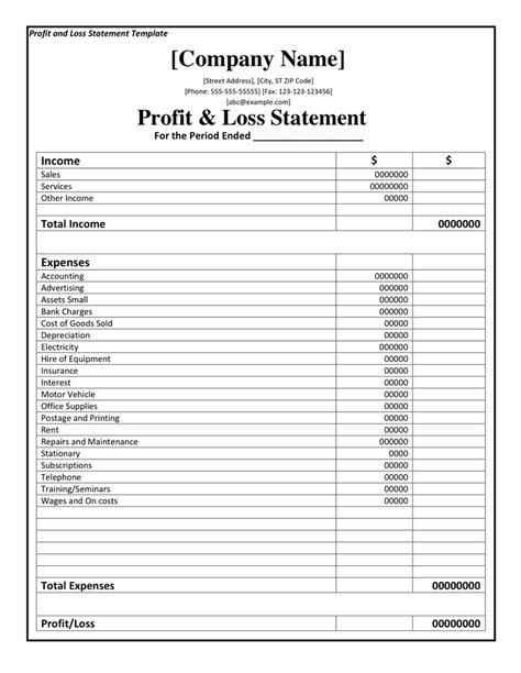 profit and loss template printable profit and loss statement format excel word
