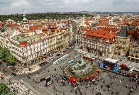 of town air view of the town square prague