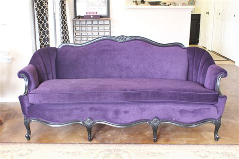 purple velvet couch vintage remaking a vintage couch