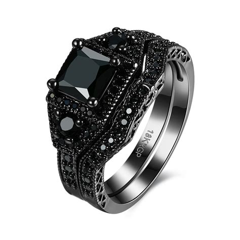 Kalung Black Gold Ring Necklace sale exquisite black onyx ring black gold filled engagement wedding ring size 6 7 8 pr870 b