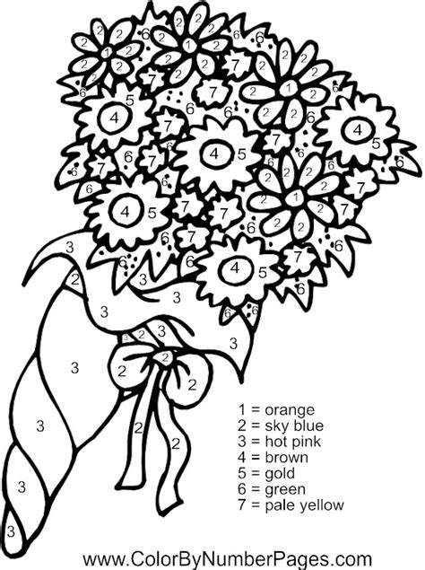 Color By Number Flower Coloring Pages | flower color by number pages