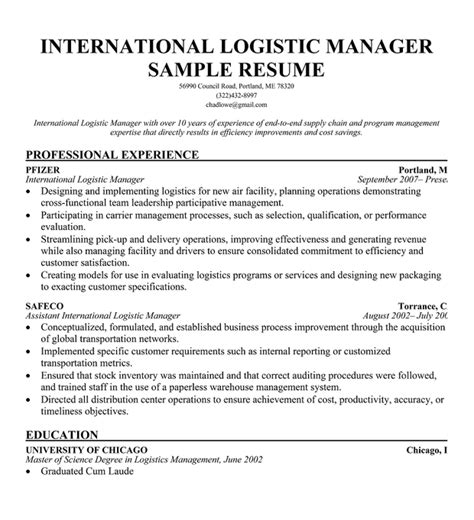 logistics manager resume template warehouse resume and logistics writing tips