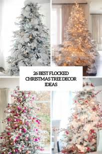 how to decorate pictures 26 best flocked christmas tree d 233 cor ideas digsdigs