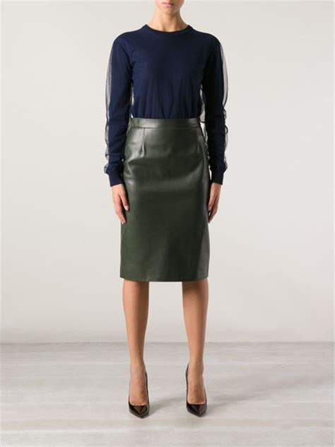 gucci gucci leather pencil skirt in green lyst