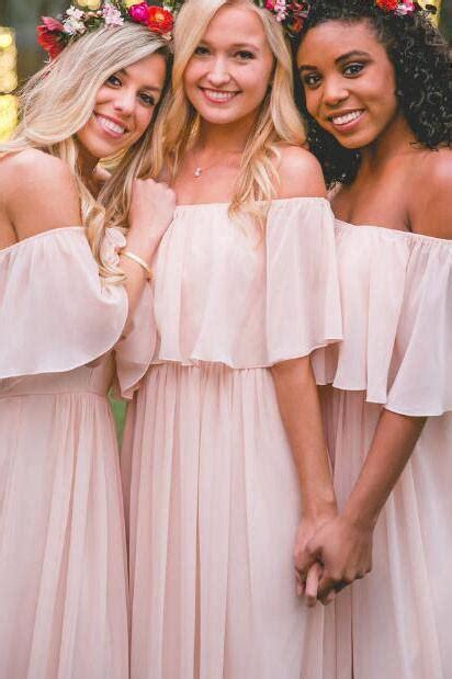 pastel pink   shoulder chiffon floor length