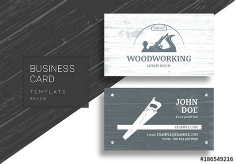 business card template adobe stock business card with carpentry tools and wood grain