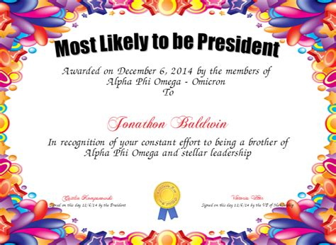 most likely to be president certificate created with