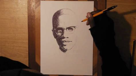 Drawing X by Malcolm X Ballpoint Drawing Time Lapse