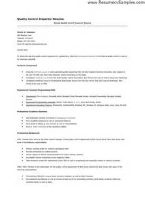 Resume For Quality Inspector by Quality Resume Sainde Org